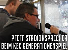 Generationenspiel des KEC – Pfeff als Stadionsprecher mit dabei